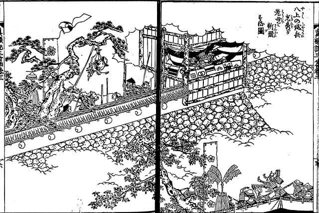 『絵本太閤記』八上の城兵、光秀の老母を斬罪にする図