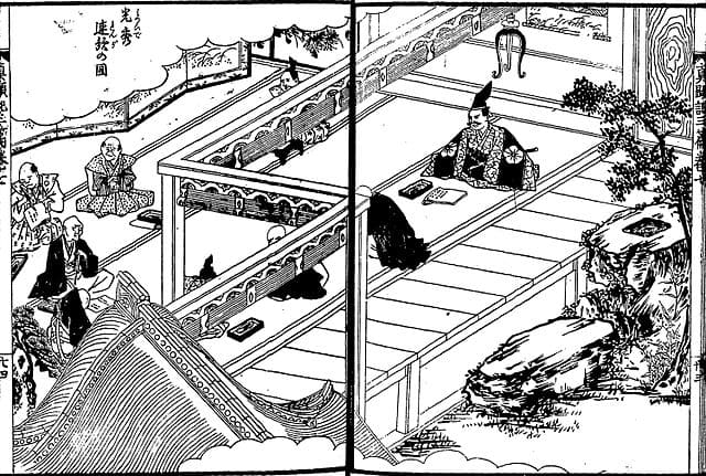 『絵本太閤記』光秀連歌の図