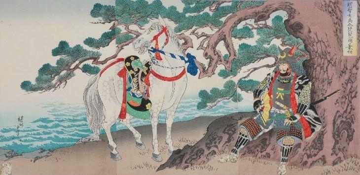 明智左馬介琵琶湖ヲ乗切(福井市立郷土歴史博物館蔵)
