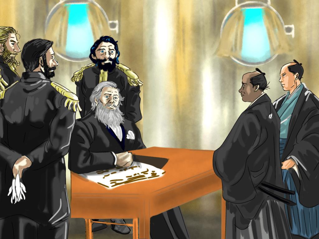 ハリス条約調印のイラスト