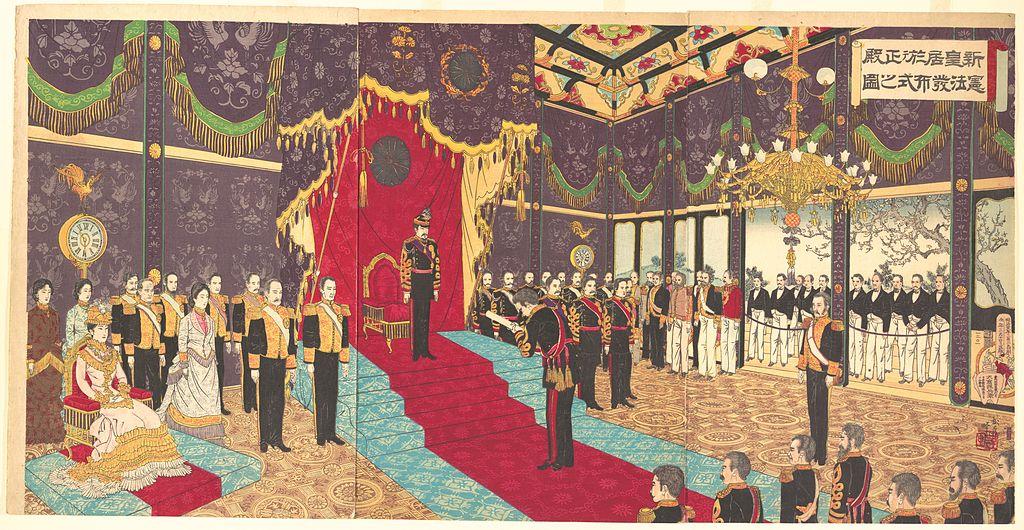 明治憲法発布式の様子を描いた錦絵(安達吟光画)