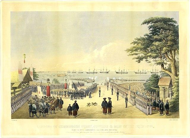 1854年、日本に再上陸(横浜)したペリー一行(ヴィルヘルム・ハイネ 画)