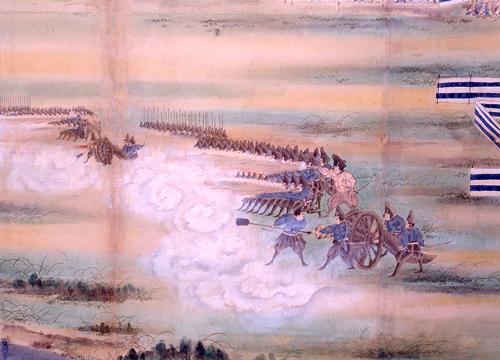 天保12年の日本初の洋式砲術・銃陣演習の様子を描いたもの(板橋区立郷土資料館 蔵)