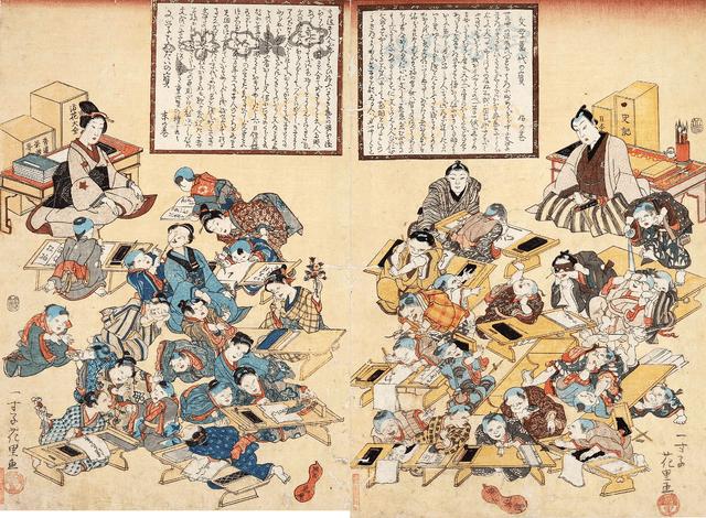 寺子屋の筆子と女性教師(一寸子花里 画)