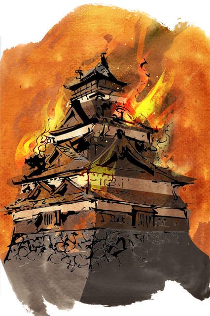 炎上するお城イラスト