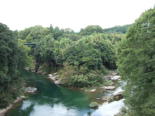牛渕橋からみた長篠城跡