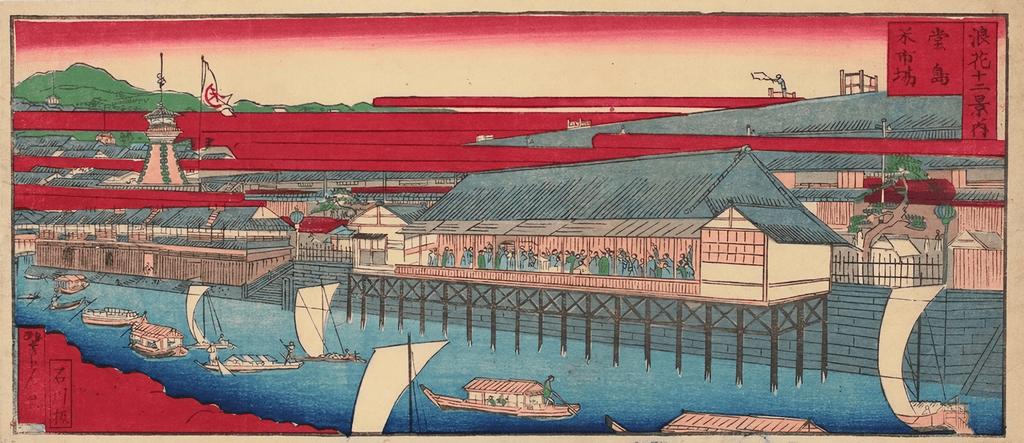 堂島川と堂島米市場の建物(大阪府立中之島図書館 蔵)
