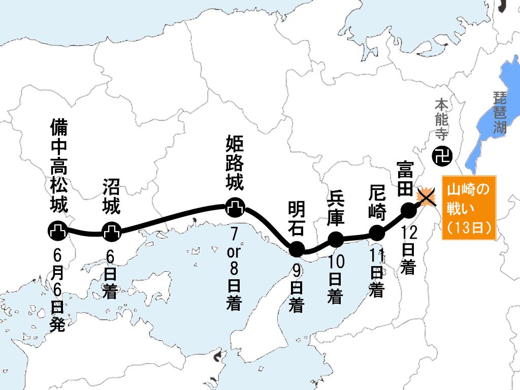秀吉による中国大返しの行程