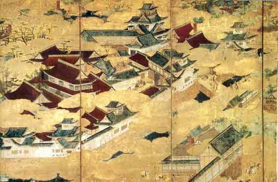 『聚楽第図屏風』の一部分(三井記念美術館所蔵)