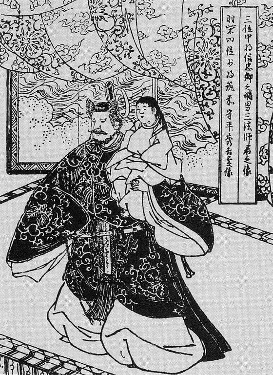 『絵本太閤記』清州会議で三法師を擁する秀吉