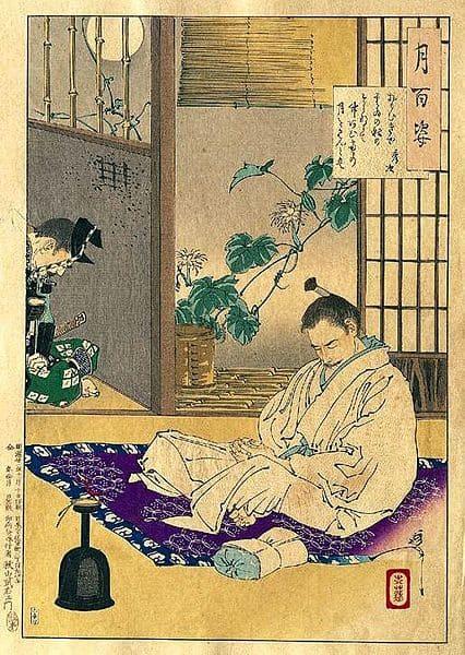 高野山での豊臣秀次を描いた『月百姿』(月岡芳年 画)