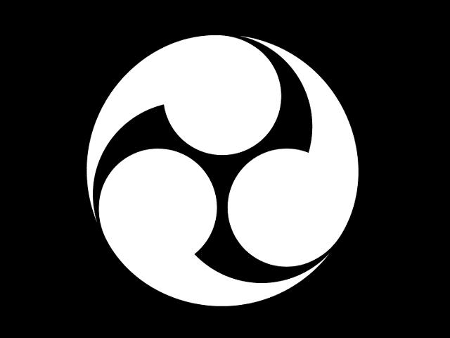 福島正則の他、九鬼氏も用いたとされる家紋「三頭右巴」