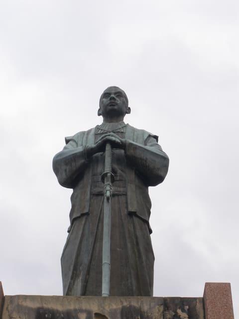 宇土城跡にある小西行長の像