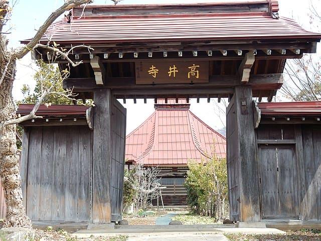 長野県高山村にある、改易後の福島正則の住居跡、高井寺の山門