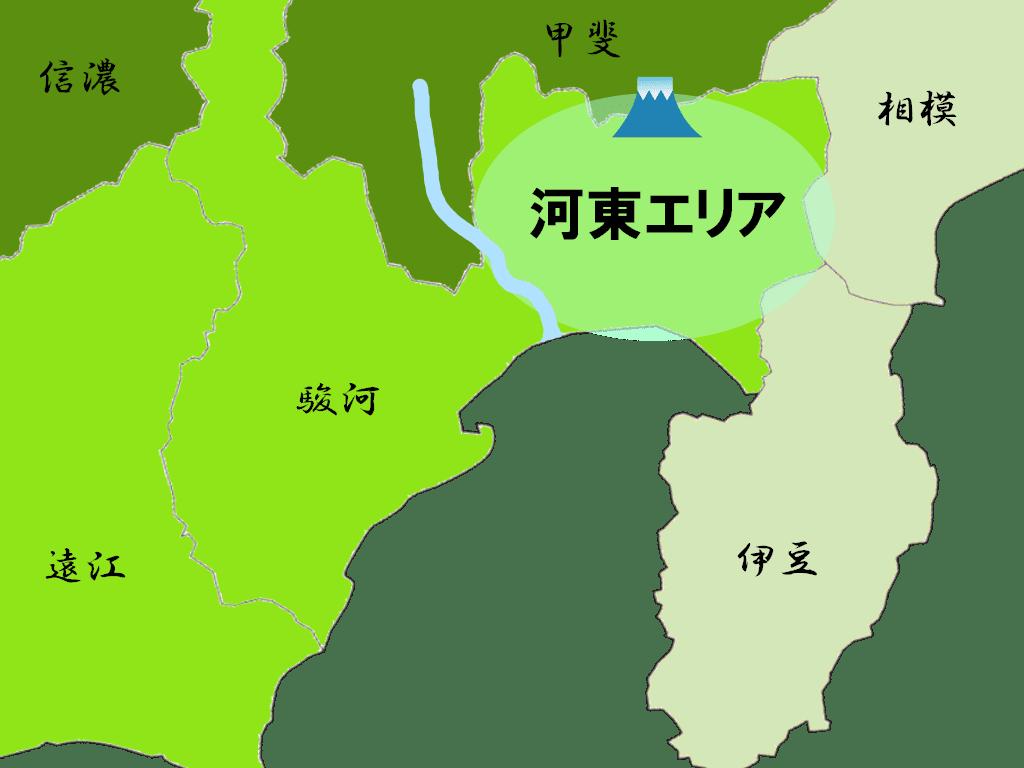 河東の乱の舞台(河東エリア)と当時の勢力図