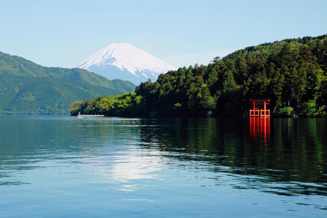 芦ノ湖と富士山。箱根神社(旧箱根権現)の鳥居も見える。