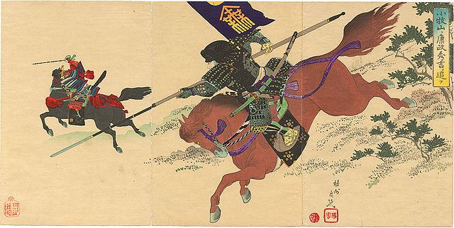 小牧・長久手の戦いでの榊原康政(楊洲周延 画)