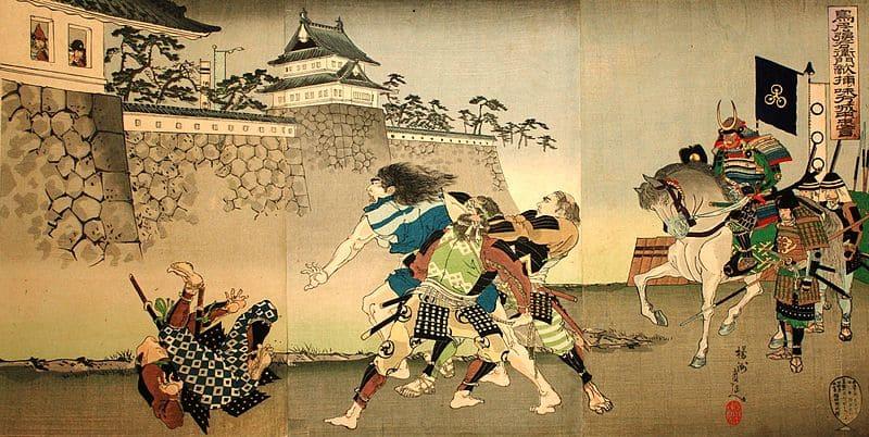 鳥居強右衛門が味方に援軍が来ることを伝える場面の錦絵(楊洲周延 作)