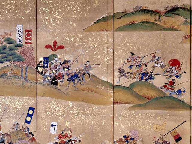 最上義光との長谷堂城の戦いを描いた『長谷堂合戦図屏風』の一部。