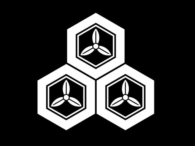 直江氏の家紋「三つ盛亀甲に三つ葉」