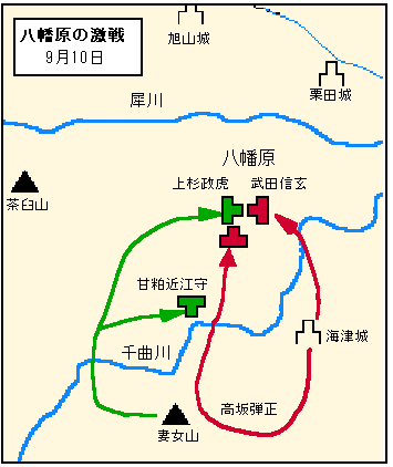 『甲陽軍鑑』等における第四次川中島、9/10 八幡原の戦いの展開