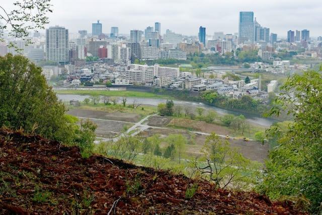 仙台城跡からみた仙台市の景色