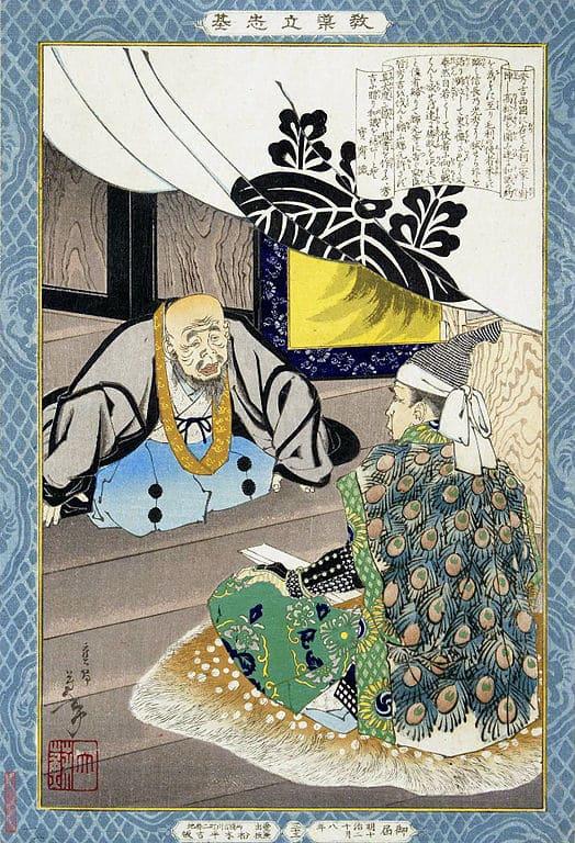 秀吉の陣中を訪れ、和睦交渉をする恵瓊(月岡芳年 画)