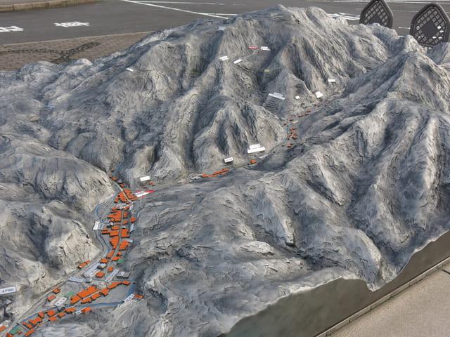 石見銀山公園(島根県大田市大森町)にある石見銀山遺跡の模型