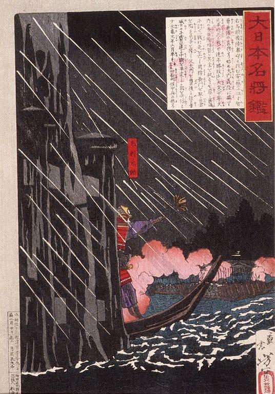 暴風雨の中で渡海する元就を描いた『大日本名将鑑 毛利元就』(月岡芳年 画)