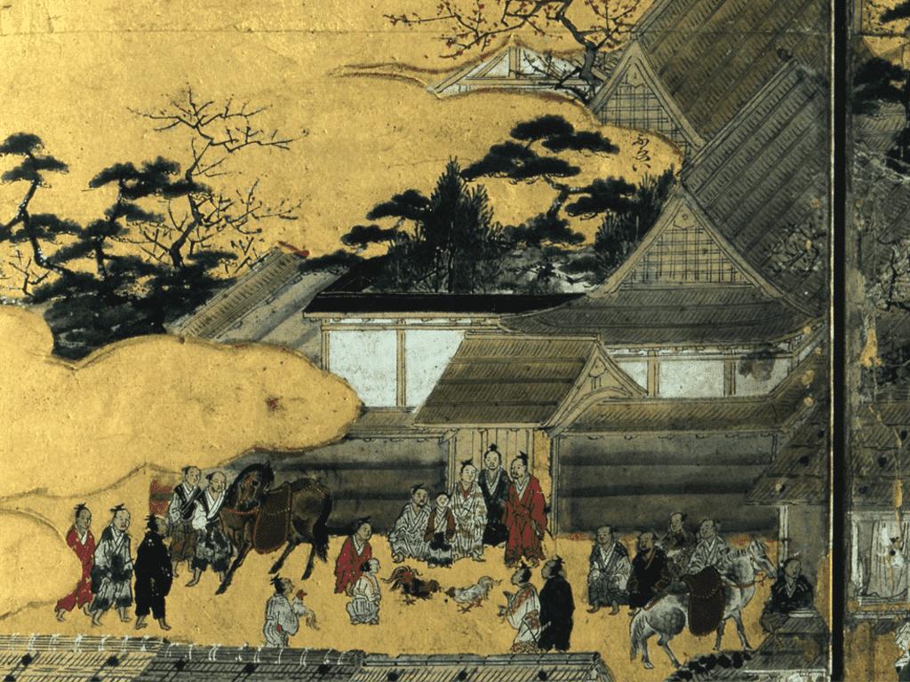 斯波氏屋敷(武衛)の前で闘鶏を見物する足利義輝(『洛中洛外図屏風』上杉博物館蔵)。闘鶏の前にいる中央の子供が義輝。周囲に近習が取り囲んでいる。