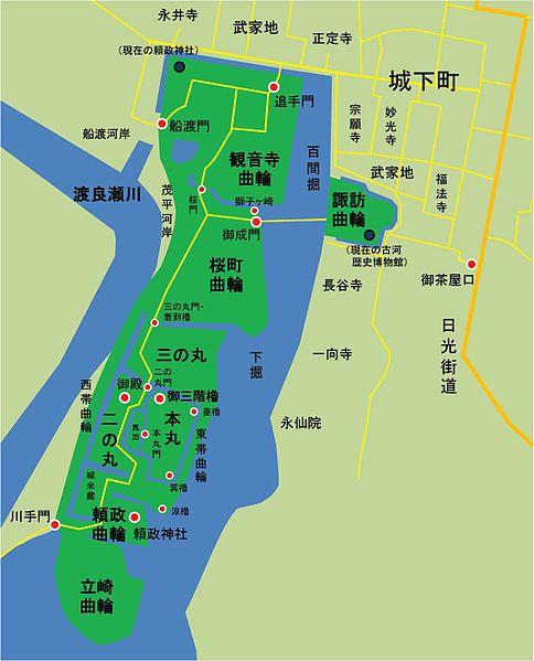 江戸時代後期の古河城の全体図