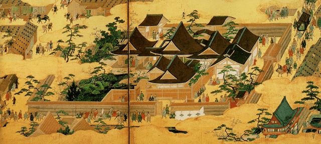 洛中洛外図屏風(上杉本)「花の御所」
