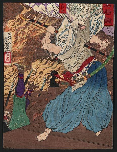 燃える本能寺で戦う信長(月岡芳年 作)