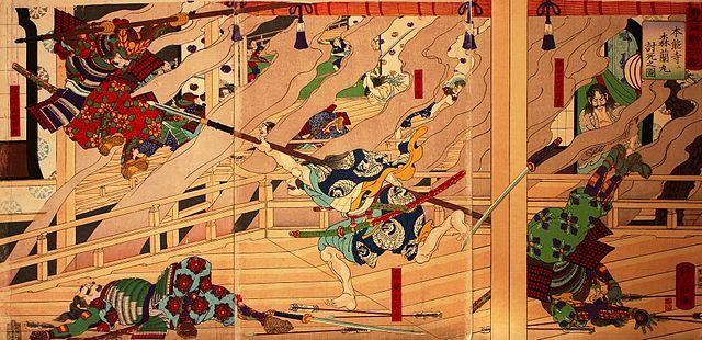 本能寺で最期を迎える森蘭丸(右田年英画)