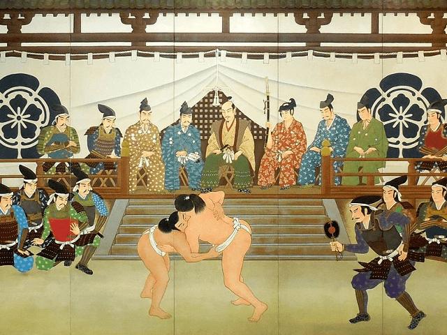 信長と家臣らが相撲観戦する様子『織田信長公相撲観覧之図 (両国国技館展示) 』