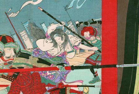 本能寺の変で長刀を振るう濃姫の画