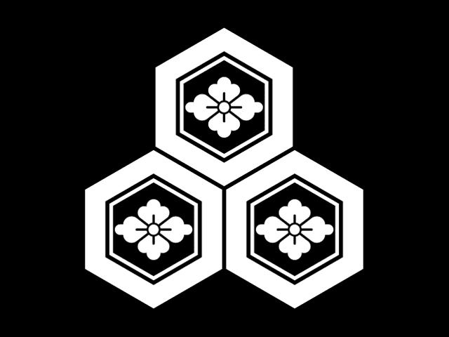 家紋「三つ盛り亀甲花菱」