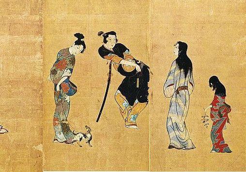 彦根屏風(一部)にみえる小袖を着た女性