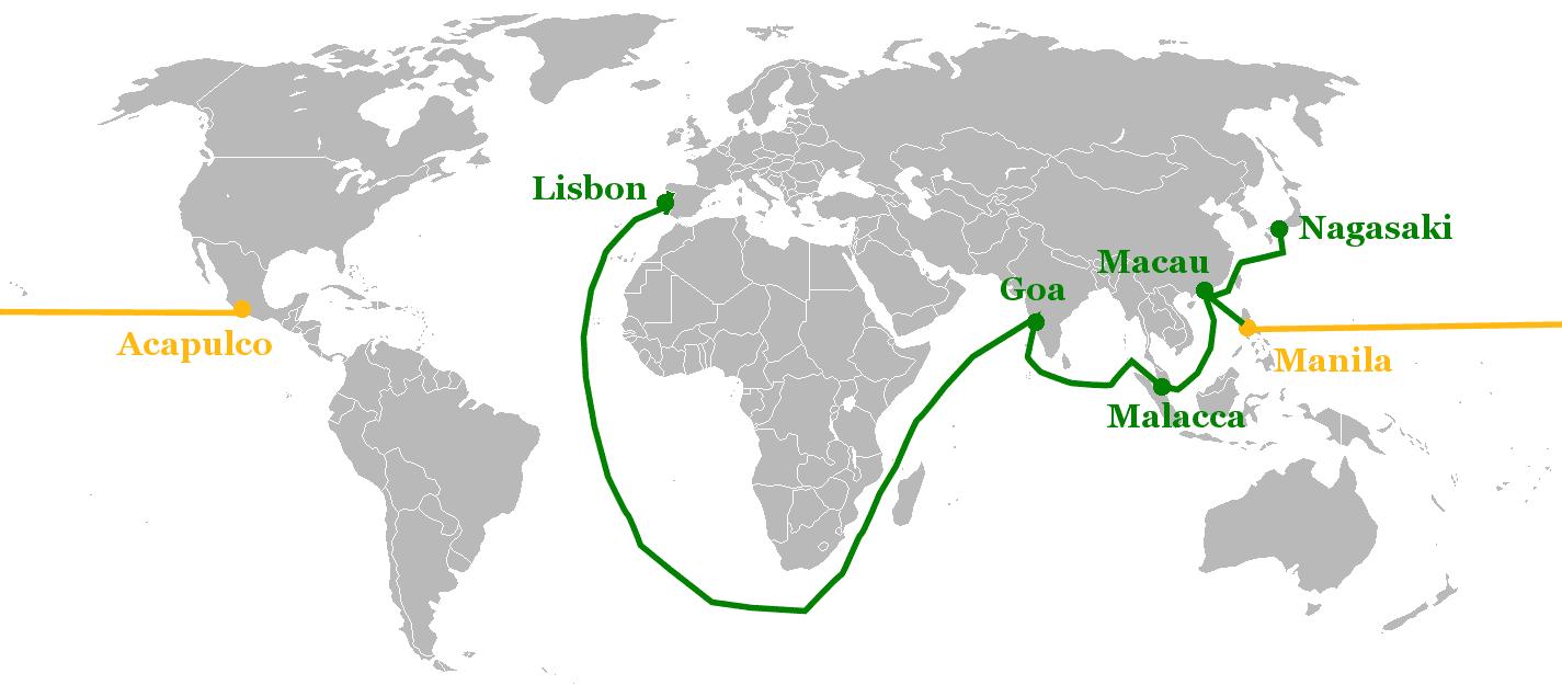 16~17世紀、ポルトガル(緑)とスペイン(黄)との貿易ルート