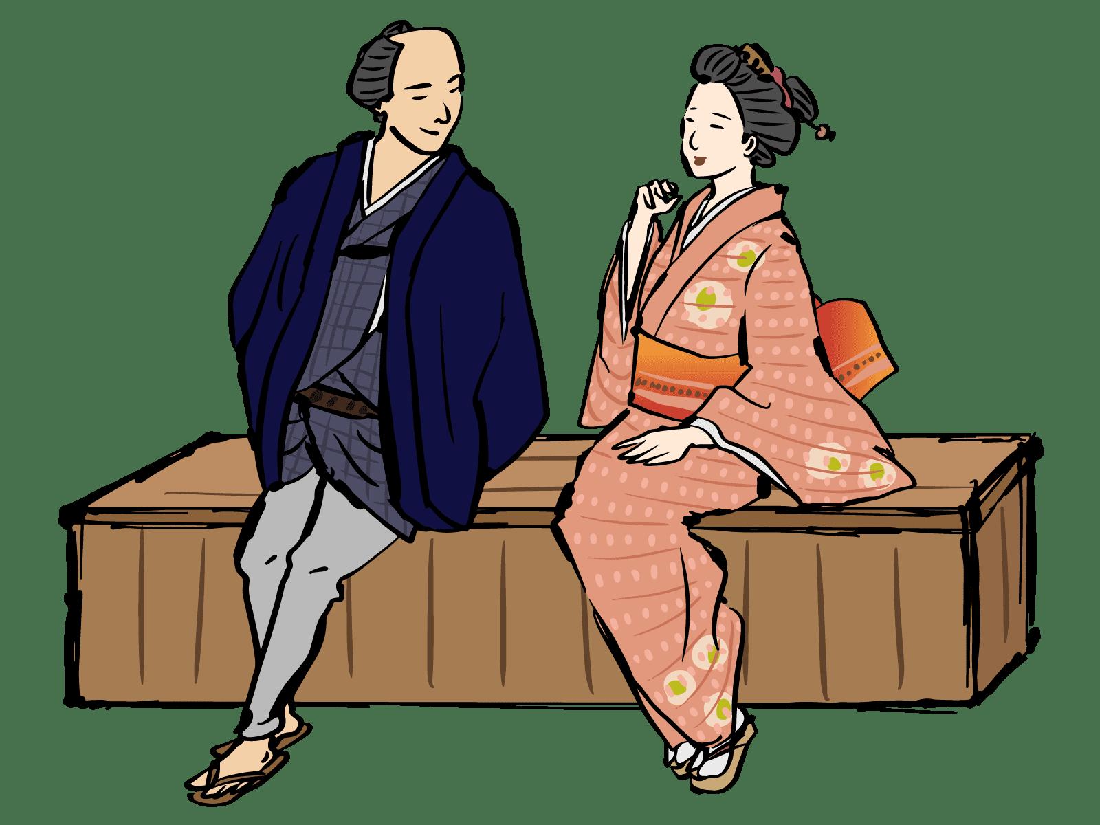 江戸時代頃の男女イラスト