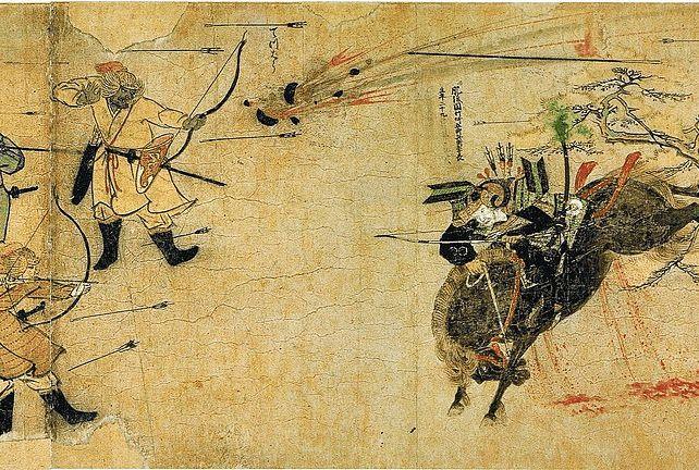 『蒙古襲来絵詞』文永の役で蒙古兵と応戦する竹崎季長
