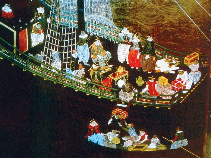 """16世紀頃、ポルトガル商人が日本に到着。(作者不明。出所:<a href=""""https://ja.wikipedia.org/wiki/%E5%8D%97%E8%9B%AE%E8%B2%BF%E6%98%93"""" target=""""_blank"""">wikipedia</a>)"""