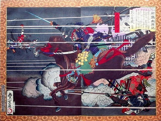 馬場美濃守の最期を描いた『新撰太閤記』(歌川豊宣 画)