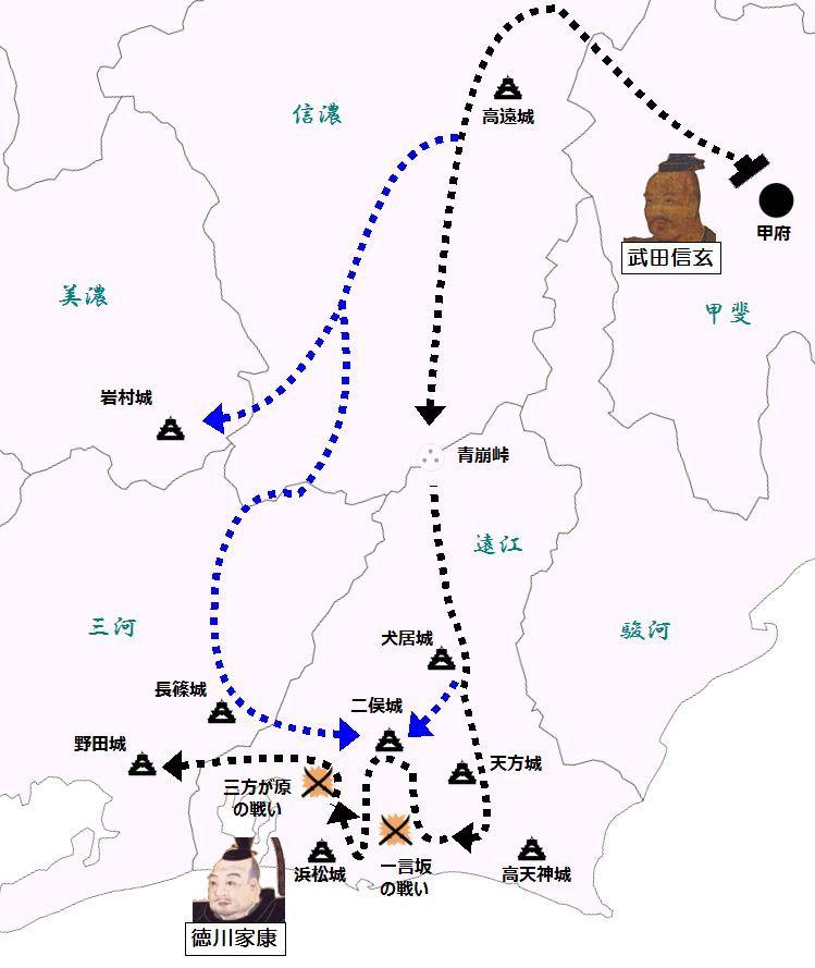 西上作戦における武田軍の進路