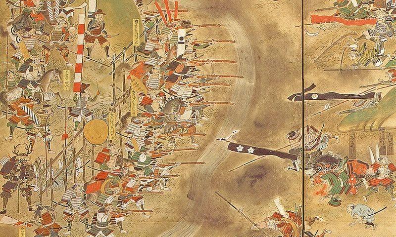 『長篠合戦図屏風』にみえる、本多忠勝隊と突撃する武田軍
