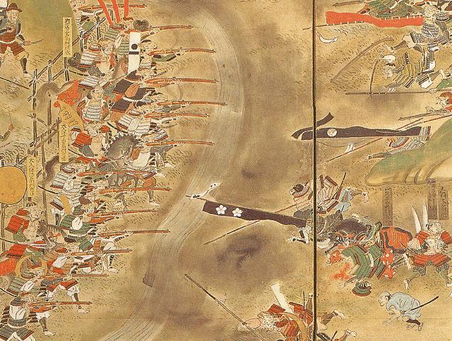 『長篠合戦図屏風』にみえる、討死した山県昌景の様子。