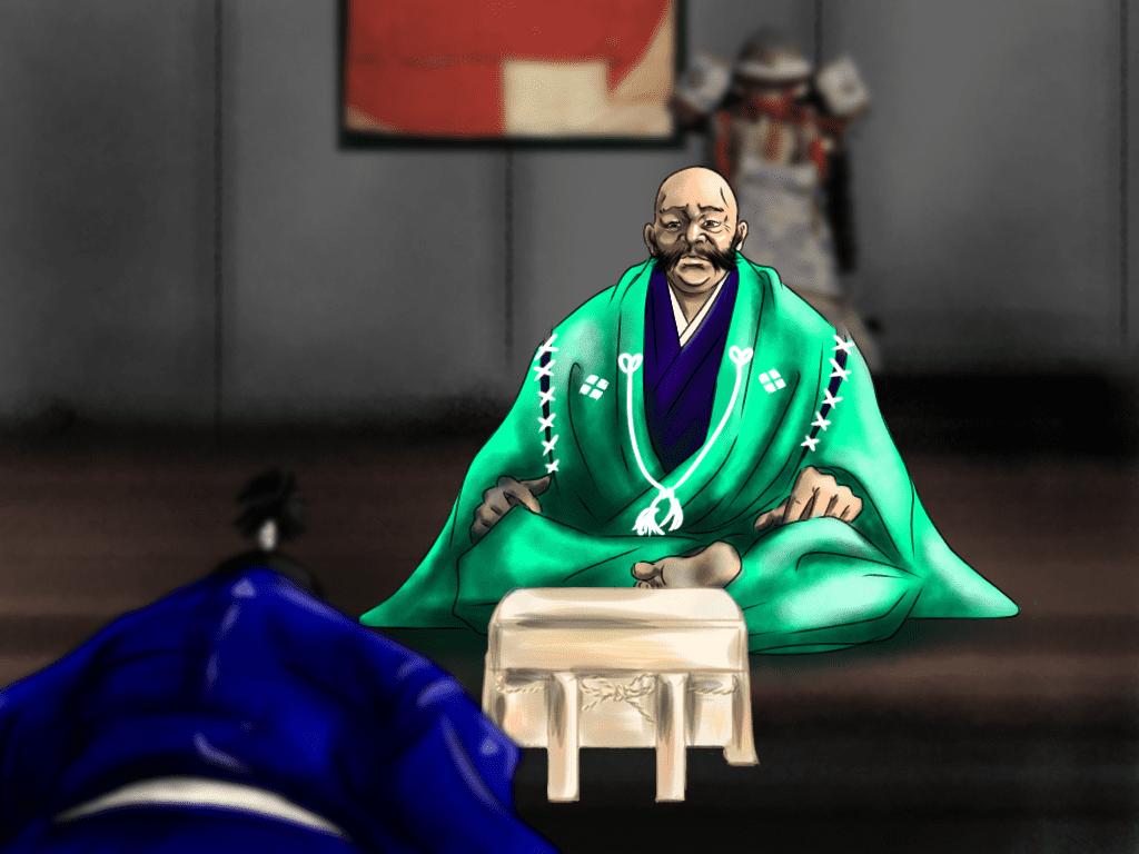 武田信玄と贈答シーンのイラスト