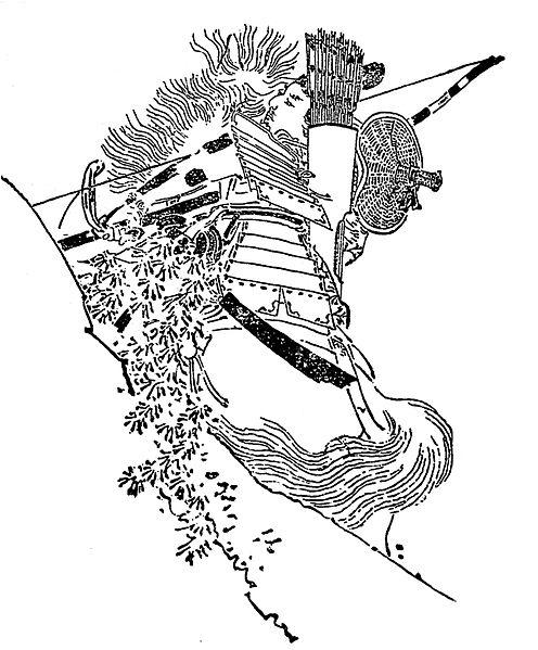 武田氏の祖とされる武田信義の像。文献上の初出の守護(駿河国)とされる。