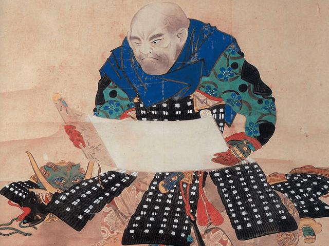 山本勘助の肖像画(松本楓湖作、恵林寺蔵)