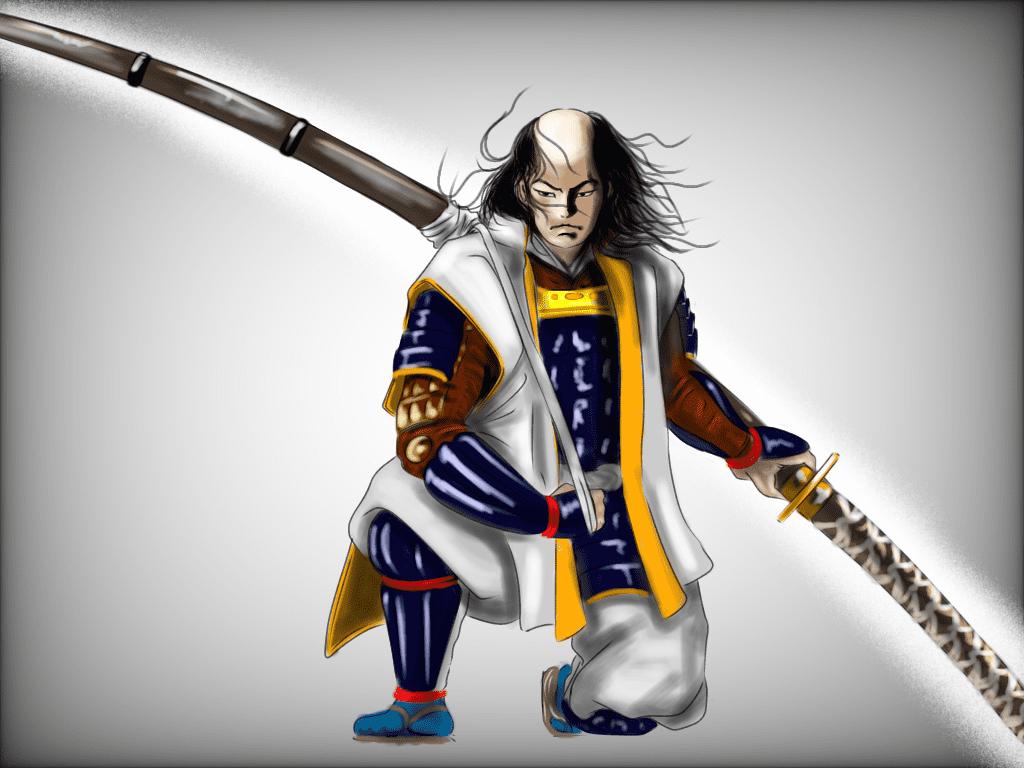 太郎太刀を持つ真柄直隆のイラスト